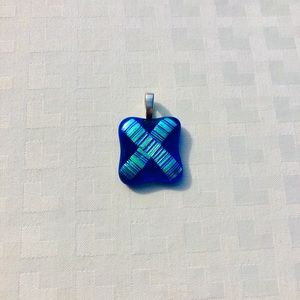 Jewelry - Beautiful blue fused glass pendant for a chain